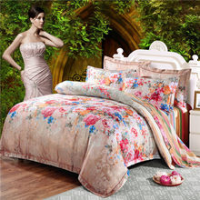 New Hot!Queen King size 4pcs Luxury bed linen bedding set tribute silk cotton satin Jacquard duvet cover Bedclothes bedsheet(China)