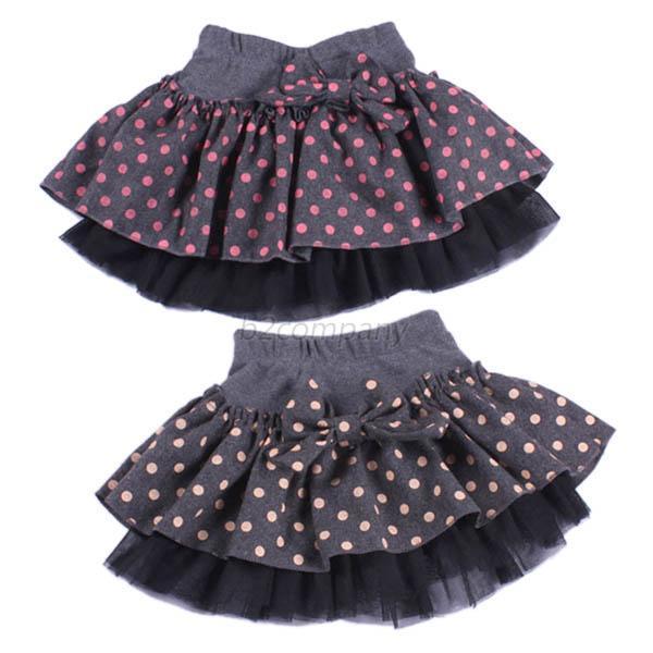 Kids Girls Polka Dots Woolen Layered Baby Tutu Skirt Bowknot Princess Skirts 2-7Y Freeshipping<br><br>Aliexpress