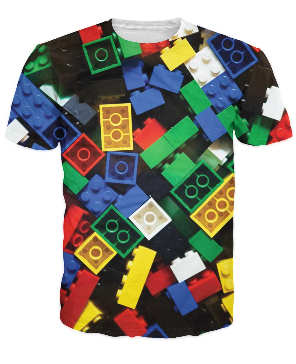 Women Men Summer Style Lego Bricks T Shirt Short Sleeve Shirt super popular children's toy Outfits Top Tees clothing(China (Mainland))