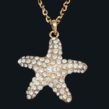 Silver Plated Chain Necklace Sea Star Necklaces Pendants Rhinestone Necklace Women Fashion Jewelry for Gift nkek25(China (Mainland))