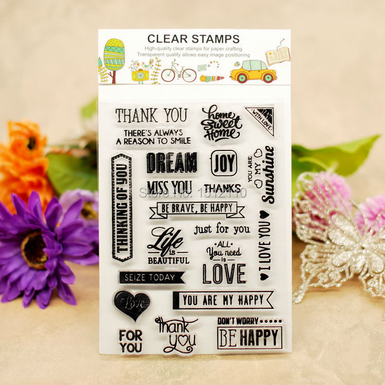 Scrapbook DIY photo cards account rubber stamp clear stamp transparent stamp DREAM JOY MISS YOU LOVE THANK YOU 10x15cm KW660301(China (Mainland))