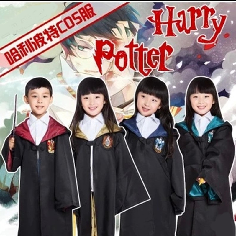Harry Potter Robe Gryffindor Cosplay Costume Kids Adult Harry Potter Robe Cloak Halloween Costumes For Kids(China (Mainland))