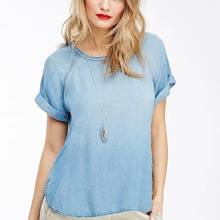 Summer fashion brand women causal loose denim t-shirts o-neck tshirts tops women jeans tees woman clothes(China (Mainland))