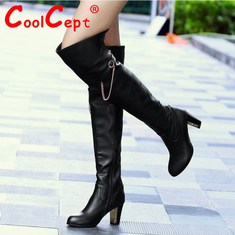 Coolcept Free shipping over knee natrual real genuine leather high heel boots women snow warm boot shoes R1535 EUR size 30-45<br><br>Aliexpress