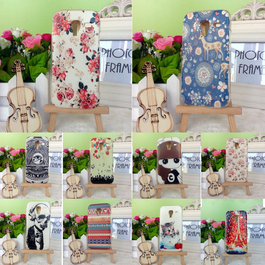 2015 22 Styles Butterfly Flower Girl Skull Colorful Painting Hard Plastic Case Cover for Samsung Galaxy Ace 2 i8160 Shell Cover(China (Mainland))