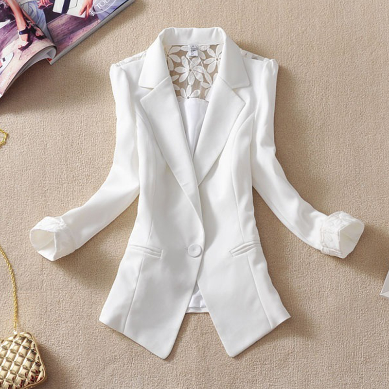 Spring Autumn New 2015 Fashion Seven Quarter sleeve Single Button Women Jacket Lace Crochet Blazer Women Suit jackets plus size(China (Mainland))