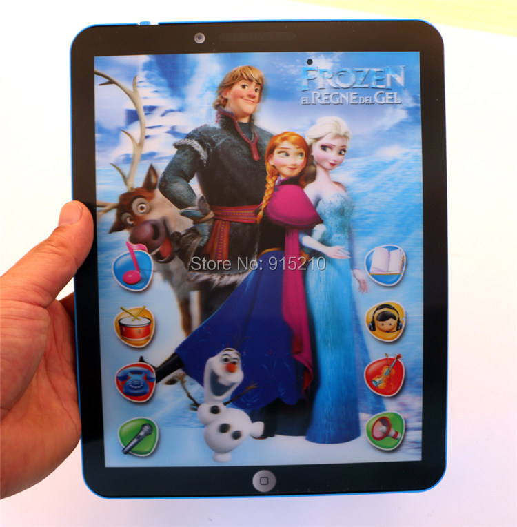 Ypad Tablet toys Computer educational TOY English Learning Machine Frozen style with music 12 touch features 2 colors mixed(China (Mainland))