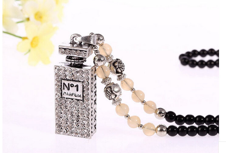 Vintage Style New Fashion Women Long Perfume bottles Pendant Necklace 2015 With Black Bead Sweater Chain(China (Mainland))