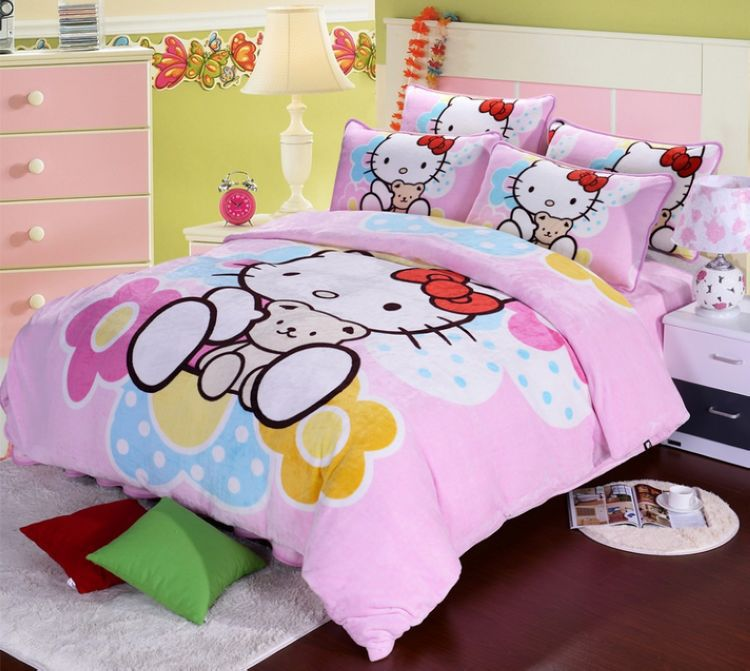 Softness Flannel Fabric Children Kids Bedding Set Queen
