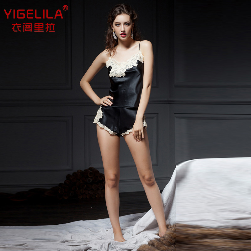 YIGELILA genuine silk sexy lace straps summer 2014 New Europe and the major suit cool pajamas