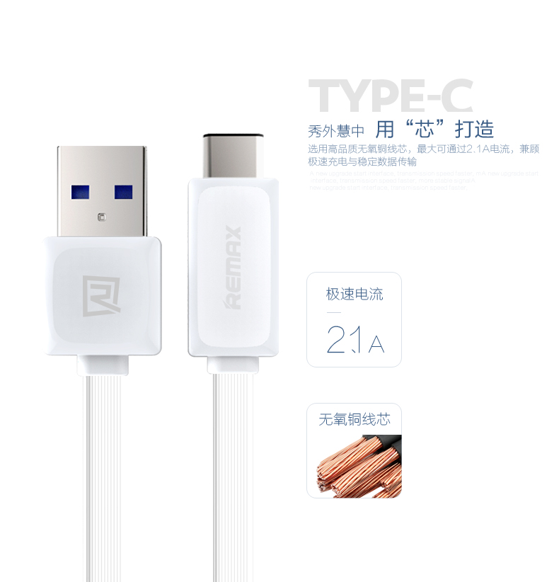 1M Remax USB C Type-C Fast Sync & Charger Cable for Nexus 5X, Nexus 6P, OnePlus 2, ZUK Z1, LG for Xiaomi 4C Huawei Xiaomi USB-C