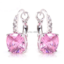 lingmei Wholesale Elegant Sweet Lady Pink Sapphire 925 Dangle Hook Silver Earring For Women Earrings Gift Free Shipping(China (Mainland))