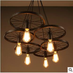 Vintage iron loft light 1,3,6 head E27 wheels pendant light bar light coffee shop lights Dia 30cm black and ferroxyl color <br><br>Aliexpress