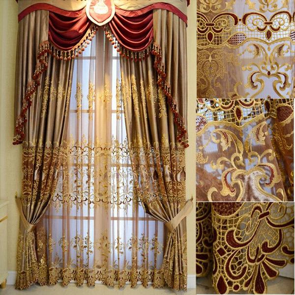 Luxury Turkish Ready Made Wholesale Embroidery Curtain Fabric(China (Mainland))