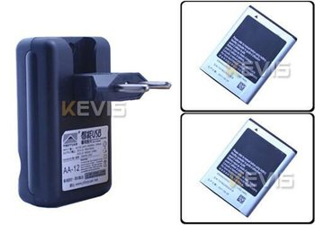 2 x 1350mAh Battery + EU Wall USB Charger For Samsung Galaxy Ace S5830