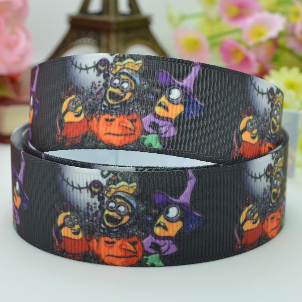"Free shipping 7/8"" 22mm Minions Halloween haunted pumpkin Printed grosgrain ribbon hair bow DIY handmade OEM 50yards(China (Mainland))"