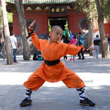 Orange Shaolin Monk Suit Kung fu Martial arts Clothes Wushu Tai chi Uniform(China)