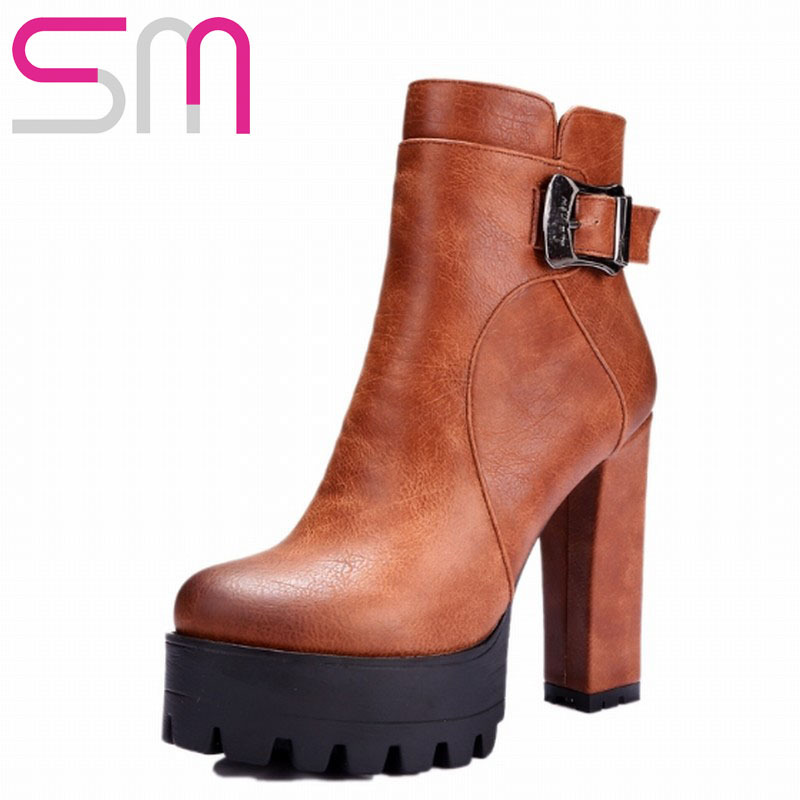 Fashion Women's High Quality Buckle Ankle Boots 2015 Brand Thick High Heels Platform Boots Warm Winter Boots Zipper Shoes Woman