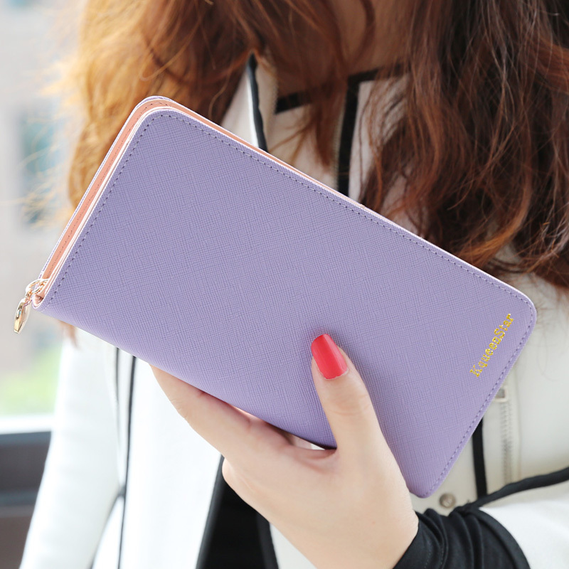 2014 new arrival fashion high capacity wallets contrast color zipper clutch women's long design wallet purse freeshipping(China (Mainland))
