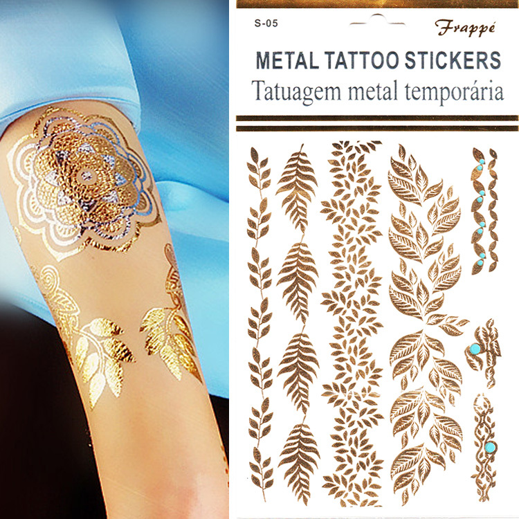 Tattoos Decorations New Arrive 1pcs/lot Gold Silver Bracelets Women Tattoo Stickers 3D Tree Leaf Tattoos Stickers On The Body(China (Mainland))