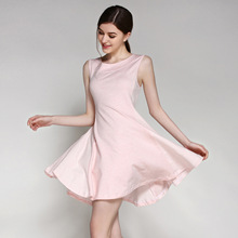 2016 Summer Style Casual Female Lounge Sleepwear Comfortable Cotton Women Sleepshirt Round-Neck Brief Sleeveless Nightdress