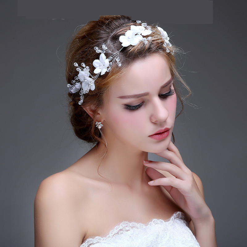 Free Shipping Handmade White Tulle Flowers Crystals Bridal Hair Accessories Fashion Soft Hairbands For Women 60814(China (Mainland))