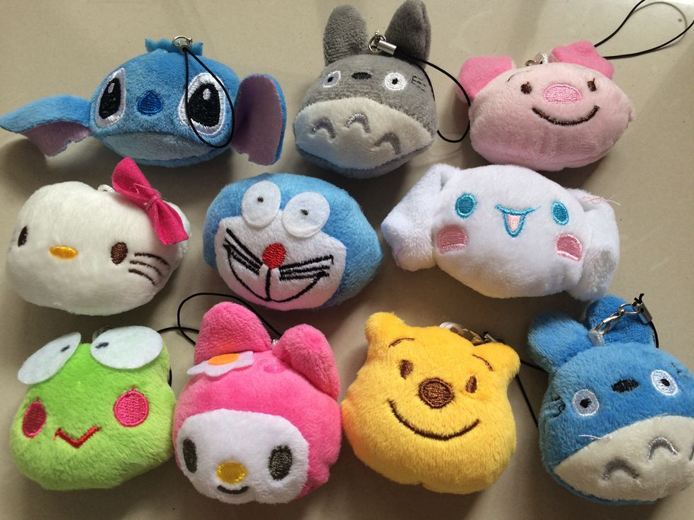 3 pcs/lot Tsum Tsum Plush Doll Keychain Pokemon Hello Kitty Totoro Small Animal Pendant Soft PP Cotton Cartoon Action Figure Toy(China (Mainland))