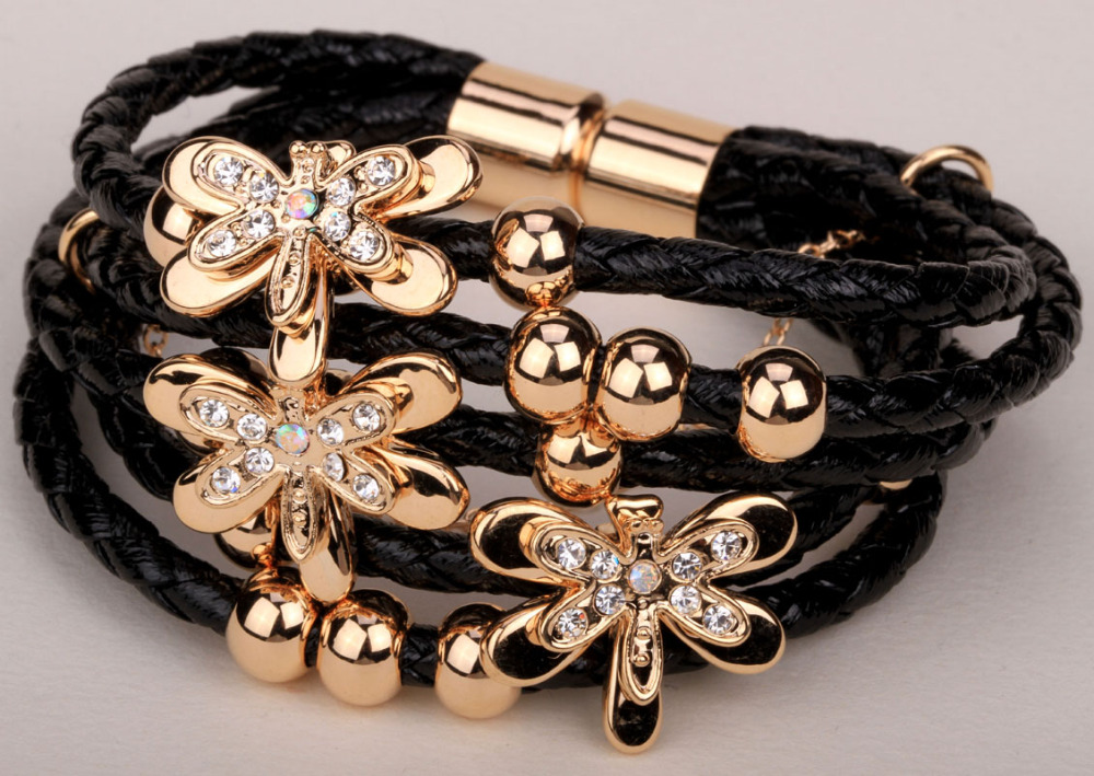 Leather dragonfly multilayer bracelet gold color Xmas thanksgiving holiday jewelry gifts for women LA22 wholesale dropshipping(China (Mainland))