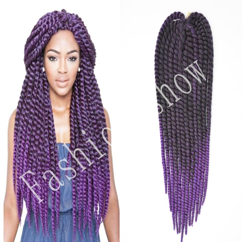 "Havana mambo twist 22"" 130g/pack crochet braids hair Purple Ombre Kanekalon jumbo Kinky Marley Twists Braiding Hair Extension(China (Mainland))"