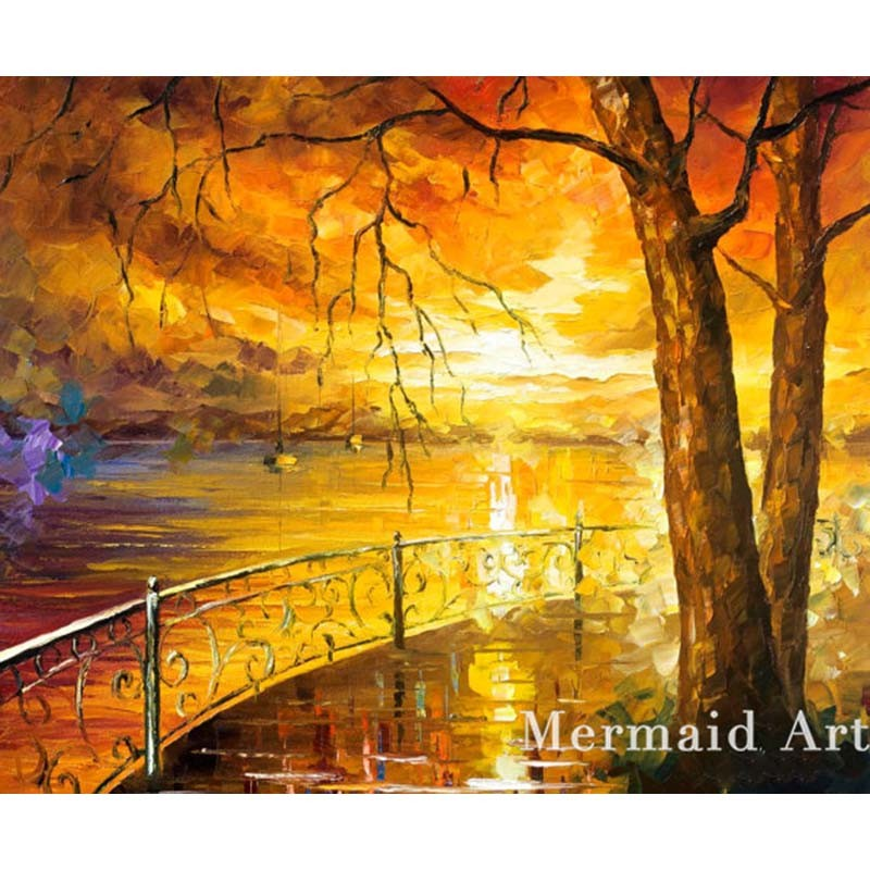 Buy Hand Painted Landscape Abstract Palette Knife Modern Sunlight In The Drops Oil Painting Canvas Wall Living Room Artwork Fine Art cheap