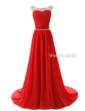 Vivian der Braut Sexy Perlen Abendkleider 2015 A-linie Bunten Chiffon Scoop Sleeveless vestido de festa Sommer Stil EV001(China (Mainland))
