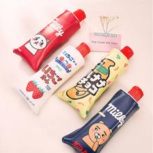 Korean Cartoon Toothpaste Shape Pu Pencil Case Sharpener Stationery Storage Organizer Bag School Supplies Student Prize - 1881149 Store store