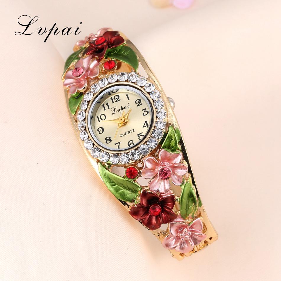 Lvpai Watches 2016 Hot Sale Fashion Casual Women Bracelet Watch Alloy Flowers Diamond Wrist Watches Dress Quartz Watch(China (Mainland))