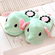 Elephant circus mint green plush floor home home warm slippers cartoon drag at home slipper shoes woman 2013 free shipping(China (Mainland))
