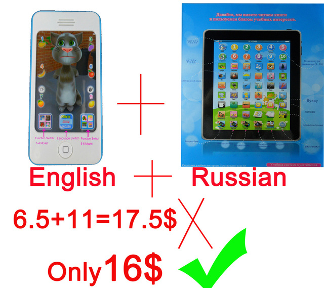100% high quality,for Iphone 4S English Learning machine+Russian language learning computer,happy new year gift