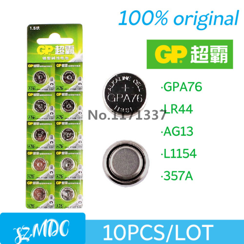 wholesale GP A76 GPA76 LR44 AG13 LR44 SR44 battery LR44 357 AG13 L1154 10pieces Free shipping