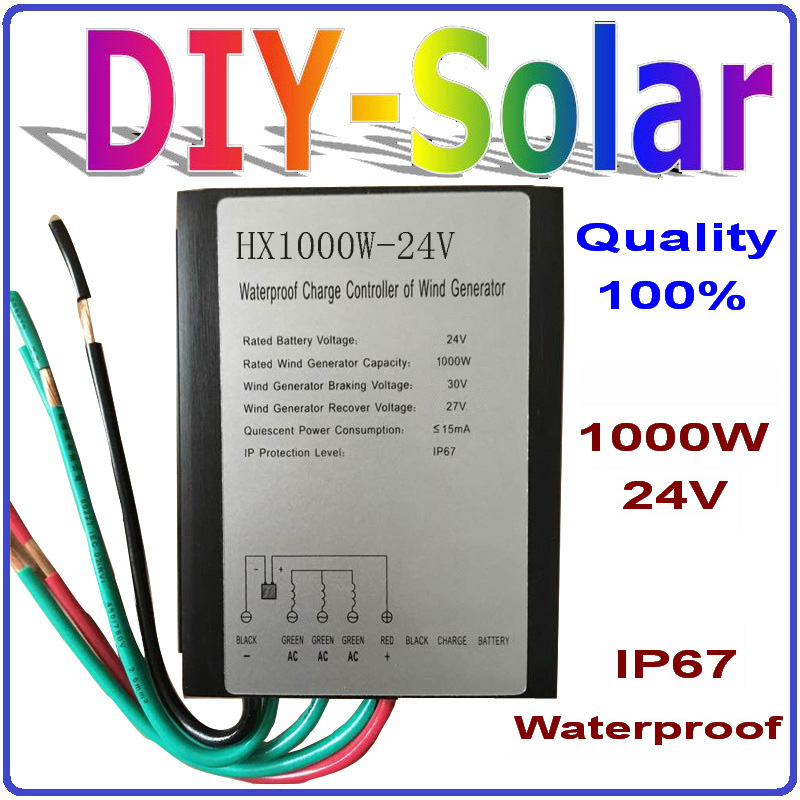 1000W 24V Wind Generator Charge Controller, 1KW 24V Wind Turbine Controller, Waterproof Grade IP67(China (Mainland))