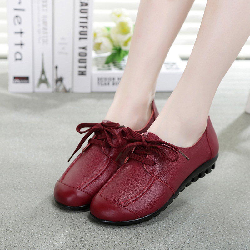 41-35 Female Spring and Autumn 2016 New Ladies Fashion Plus Size Lace Up Leather Shoes Women Genuine Leather Casual Shoes Woman