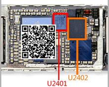 2 пара/лот Оригинальный новый белый + черный сенсорный экран digitizer ic чип для IPHONE 6 6 + 6 plus U2401 + U2402(China (Mainland))