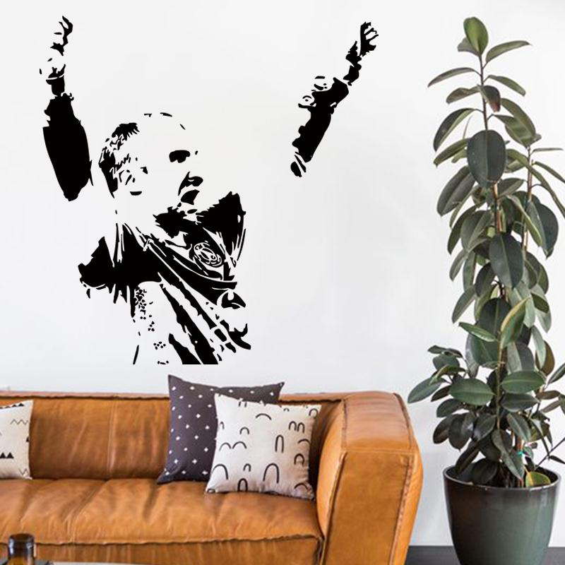 2015 new design cheap home decoration vinyl hand ball Thierry Omeyer art wall sticker removable PVC sports player name decals(China (Mainland))