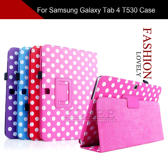 Case Samsung Galaxy Tab 4 10.1 T530/T531/T535,Lovely Dots Stand Pen Flip PU Leather Cover - NKOBEE OfficialFlagship Store store
