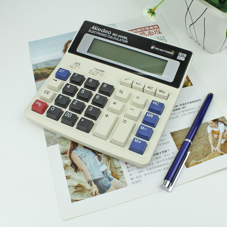 General Function Office Accounting Financial Calculator 200ml Bank Finance 12digits Solar Energy Double Power Supply Stationery(China (Mainland))