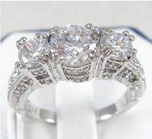 Sz 5/6/7/8/9  Jewelry Antique Lady 10KT Gold Filled White Three stones Gem Diamonique women  Wedding Ring for love gift(China (Mainland))