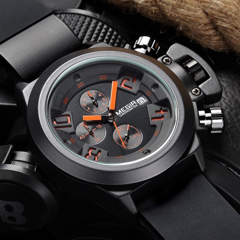 2016 MEGIR CHRONOGRAPH Sport Function Mens Watches Top Brand Luxury Silicone Watches Men Megir Male Quartz Watch Erkek Kol Saati(China (Mainland))