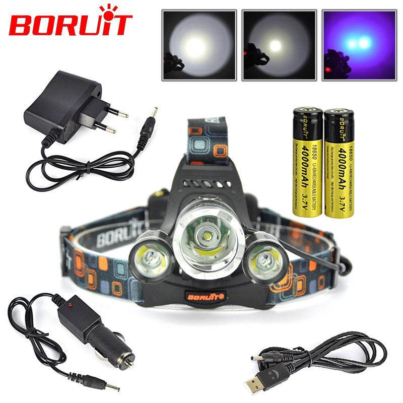 XML T6+2*R5 LED UV 6000 LM Headlight Headlamp Lantern Purple LED Flashlight + 2 x18650 4000mah Rechargeable Battery+ Charger<br><br>Aliexpress