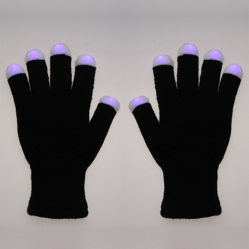 Elastic Acrylic Fibers LED Rave Flashing Gloves RGB Coloar Glow 7 Mode Light Up Lighting Finger for Christmas New Year(China (Mainland))