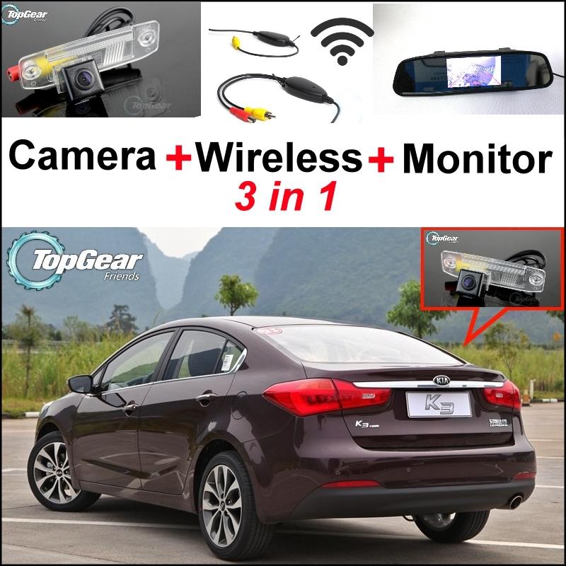 3 in1 Special Rear View Camera + Wireless Receiver Mirror Monitor Back Parking System KIA Forte K3 Cerato 2012~2015