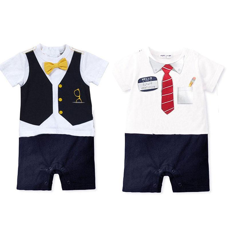 Newborn Infant Toddler Baby Boy Short Sleeve Bow Tie Bodysuit Clothes<br><br>Aliexpress