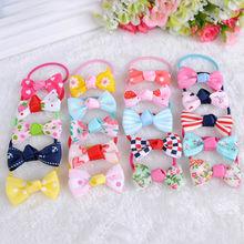 2Pcs Korean Fashion Anchors Floral Heart Dot Printed Bow Headbands Stripe Girl Elastic Hair Bands Chrismas Kid Hair Accessories