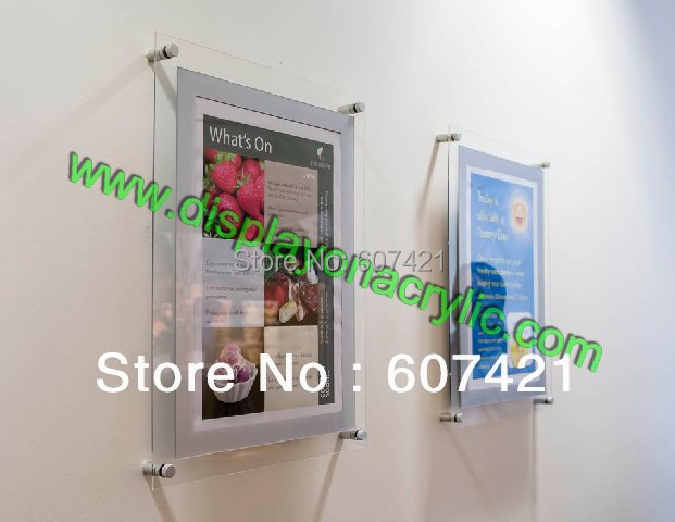 (10 Unit/Lot ) Wall Mounted A4 Acrylic Plexiglass Poster Frames ,Perspex Floating Frames(China (Mainland))